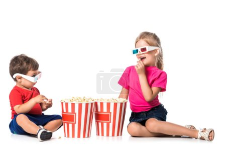 children with popcorn and 3d glasses isolated on white