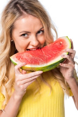 Photo for Woman with blonde hair eating watermelon isolated on white - Royalty Free Image