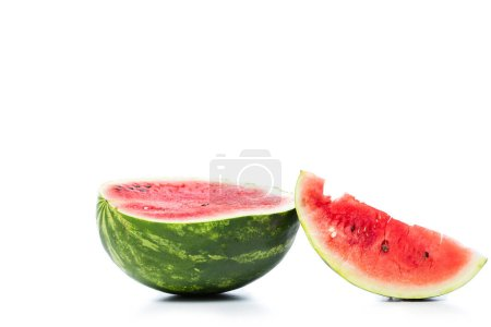 Photo for Green fresh watermelon isolated on white - Royalty Free Image