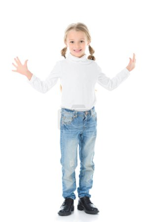 happy kid with braids gesturing and posing isolated on white