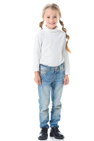 adorable kid with braids posing isolated on white