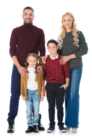 parents with adorable kids posing isolated on white
