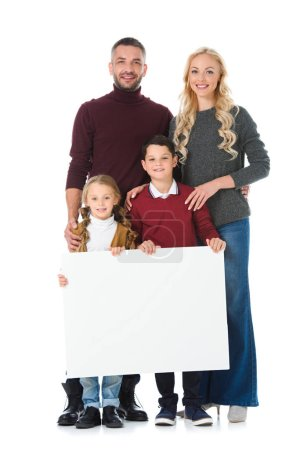 happy family and children holding blank placard, isolated on white