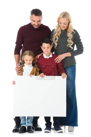 parents and kids holding empty board, isolated on white