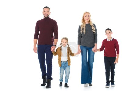 parents holding hands with children, isolated on white