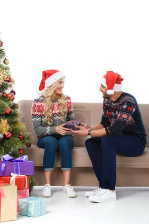 happy couple in santa hats gifting presents near christmas tree, isolated on white