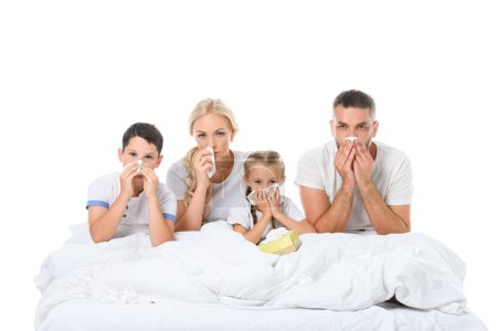 ill family with runny noses holding napkins while sitting in bed, isolated on white