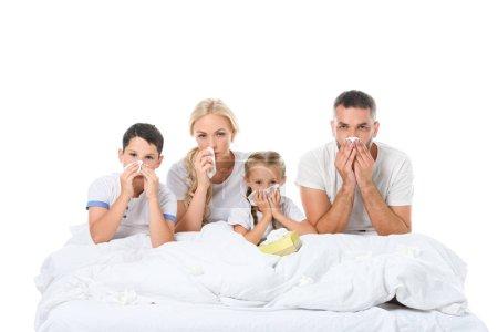 Photo pour Famille malade avec nez qui coule tenant des serviettes tout en étant assis au lit, isolé sur blanc - image libre de droit