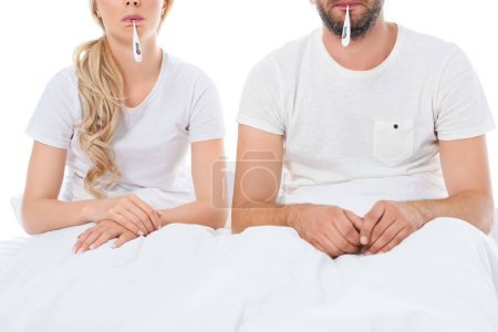 Photo for Cropped view of sick couple with electronic thermometers sitting in bed, isolated on white - Royalty Free Image