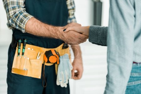 Photo for Cropped image of plumber and customer shaking hands in kitchen - Royalty Free Image