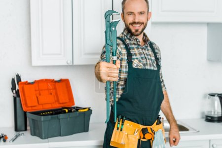 smiling handsome plumber showing monkey wrench in kitchen