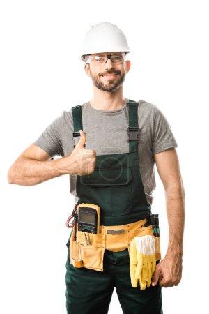 Photo pour Électricien de beau sourire montrant le pouce en haut isolé sur blanc - image libre de droit