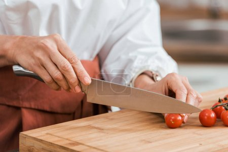 cropped image of woman preparing salad for dinner and cutting cherry tomatoes in kitchen