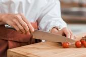 """Постер, картина, фотообои """"обрезанное изображение женщины, подготовке салат на ужин и резки Черри в кухне"""""""