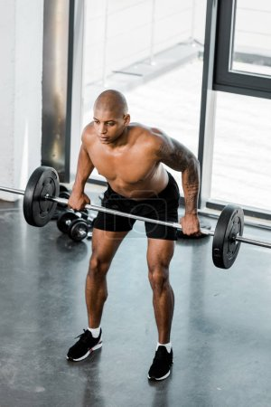high angle view of muscular bare-chested african american sportsman lifting barbell in gym