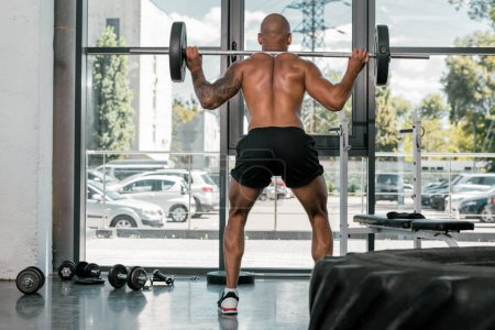 rear view of athletic young shirtless man lifting barbell in gym