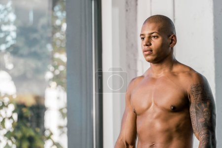 Photo for Portrait of shirtless muscular african american sportsman at gym - Royalty Free Image