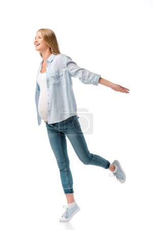 happy beautiful pregnant woman in shirt and jeans isolated on white