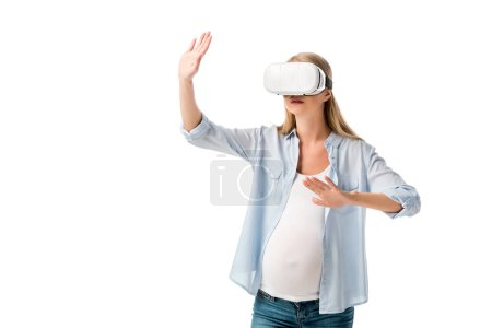 emotional pregnant woman in vr headset gesturing with hands isolated on white