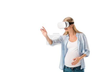 Photo for Smiling pregnant woman in vr headset gesturing with hand isolated on white - Royalty Free Image
