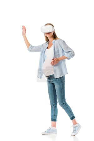 emotional pregnant woman in vr headset isolated on white
