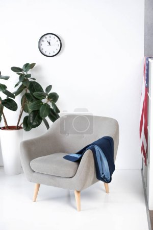 interior of modern living room with armchair, plant and clock on wall