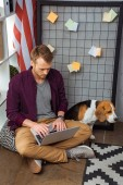 high angle view of male freelancer working on laptop while beagle sitting near usa flag in home office