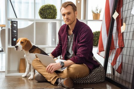Photo for Confident male freelancer with laptop touching beagle near usa flag in home office - Royalty Free Image