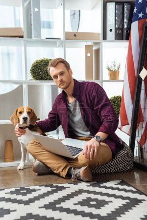 Photo for Selective focus of male freelancer with laptop touching beagle near usa flag in home office - Royalty Free Image