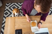 overhead view of businessman eating burger at table with laptop and smartphone while beagle standing near in office