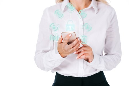 cropped shot of businesswoman using smartphone with cyber security signs isolated on white