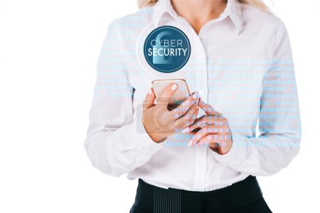 cropped shot of businesswoman using smartphone with cyber security sign isolated on white