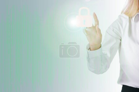 cropped shot of businesswomans hand  and cyber security sign isolated on white