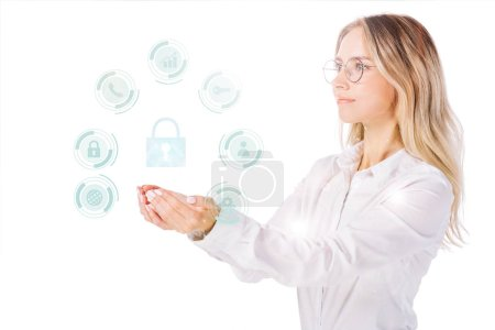 side view of businesswoman in eyeglasses holding cyber security signs isolated on white