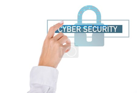 cropped shot of businesswoman pointing at cyber security sign isolated on white