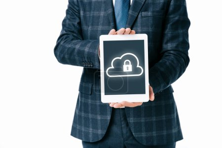 cropped shot of businessman showing tablet with cloud and lock cyber security sign on screen isolated on white