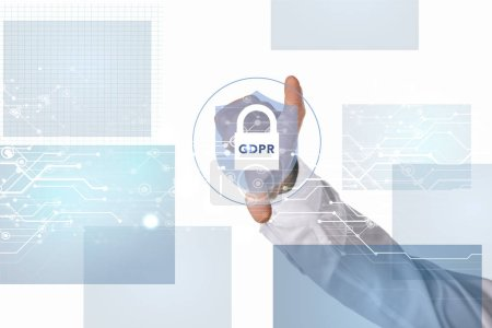 partial view of businessman gesturing with gdpr cyber security sign in middle isolated on white
