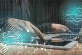 """Постер, картина, фотообои """"обрезанное выстрел мужской хакер с помощью ноутбука и планшета, концепции безопасности cyber"""""""