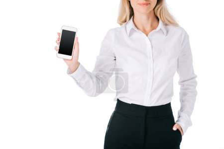 Photo for Cropped shot of businesswoman showing smartphone with blank screen isolated on white - Royalty Free Image