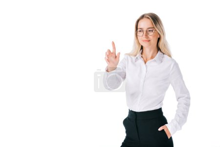 portrait of smiling businesswoman in formal wear gesturing isolated on white