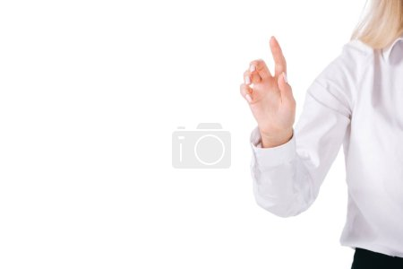 cropped shot of businesswomans hand isolated on white
