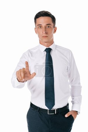 portrait of concentrated businessman gesturing isolated on white