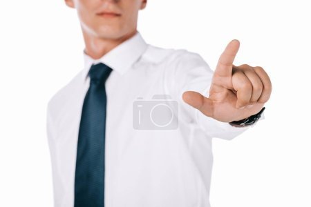 partial view of businessman gesturing isolated on white