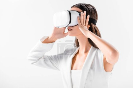 close up of adult woman holding virtual reality headset isolated on white