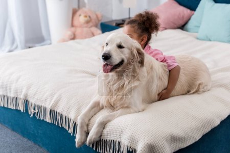 Adorable african american child sitting on the bed behind her retriever