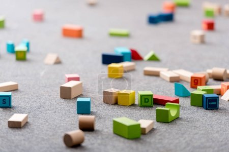 Colourful toy cubes and alphabet blocks