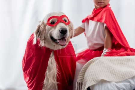 partial view of little kid with golden retriever dog in red superhero costumes