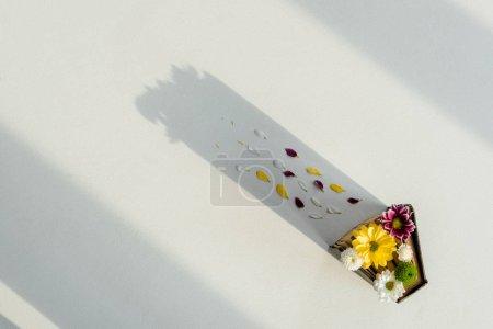 Photo pour Vue de dessus de rétro avec fleurs multicolores aux couleurs vives et pétales - image libre de droit
