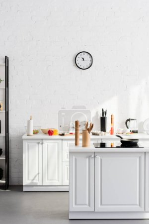 kitchen minimalistic interior with cooking supplies and devices