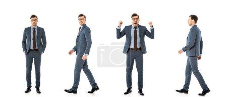Photo pour Collage d'homme d'affaires adulte en costume marchant et debout avec différentes émotions isolées sur blanc - image libre de droit